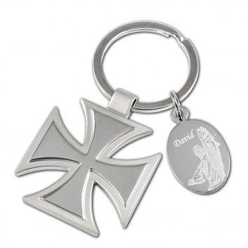 Schlüsselanhänger als Militärkreuz mit eigener Fotogravur