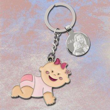 Baby Schlüsselanhänger rosa mit Fotogravur