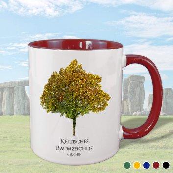 Keltisches Baumzeichen mit Buche Motiv in weinrot