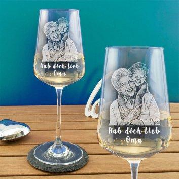Premium Weißweinglas mit Fotogravur von Spiegelau