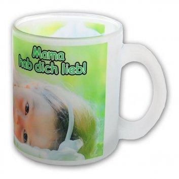 Glastasse mit Fotodruck und Henkel