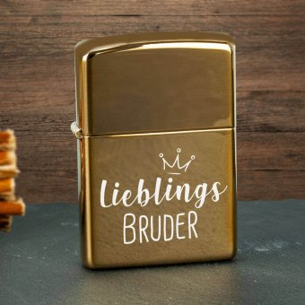 Zippo Feuerzeug mit Lieblingsbruder Gravur brass polished