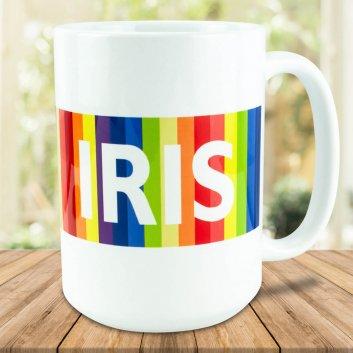 XXL Kaffeebecher mit farbigen Streifen und individuellen Vornamen