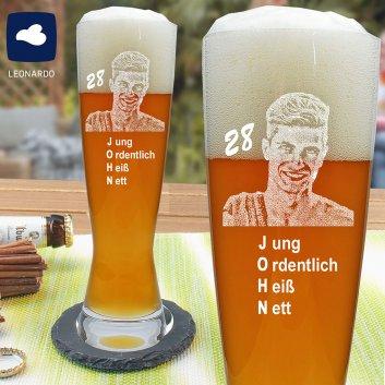 LEONARDO Weizenbierglas mit Foto und Namen graviert
