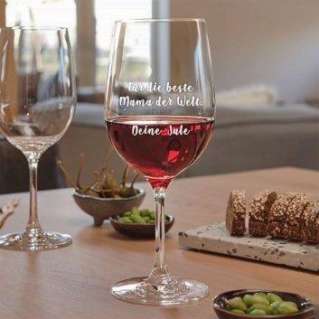 Rotweinglas mit Gravur LEONARDO