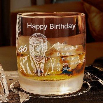 Geburtstagsglas Whisky mit Fotogravur