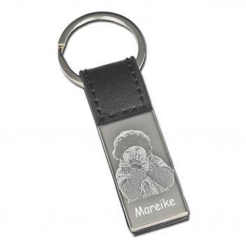 Schlüsselanhänger mit schwarzer Lasche und mit Fotogravur kleines Mädchen