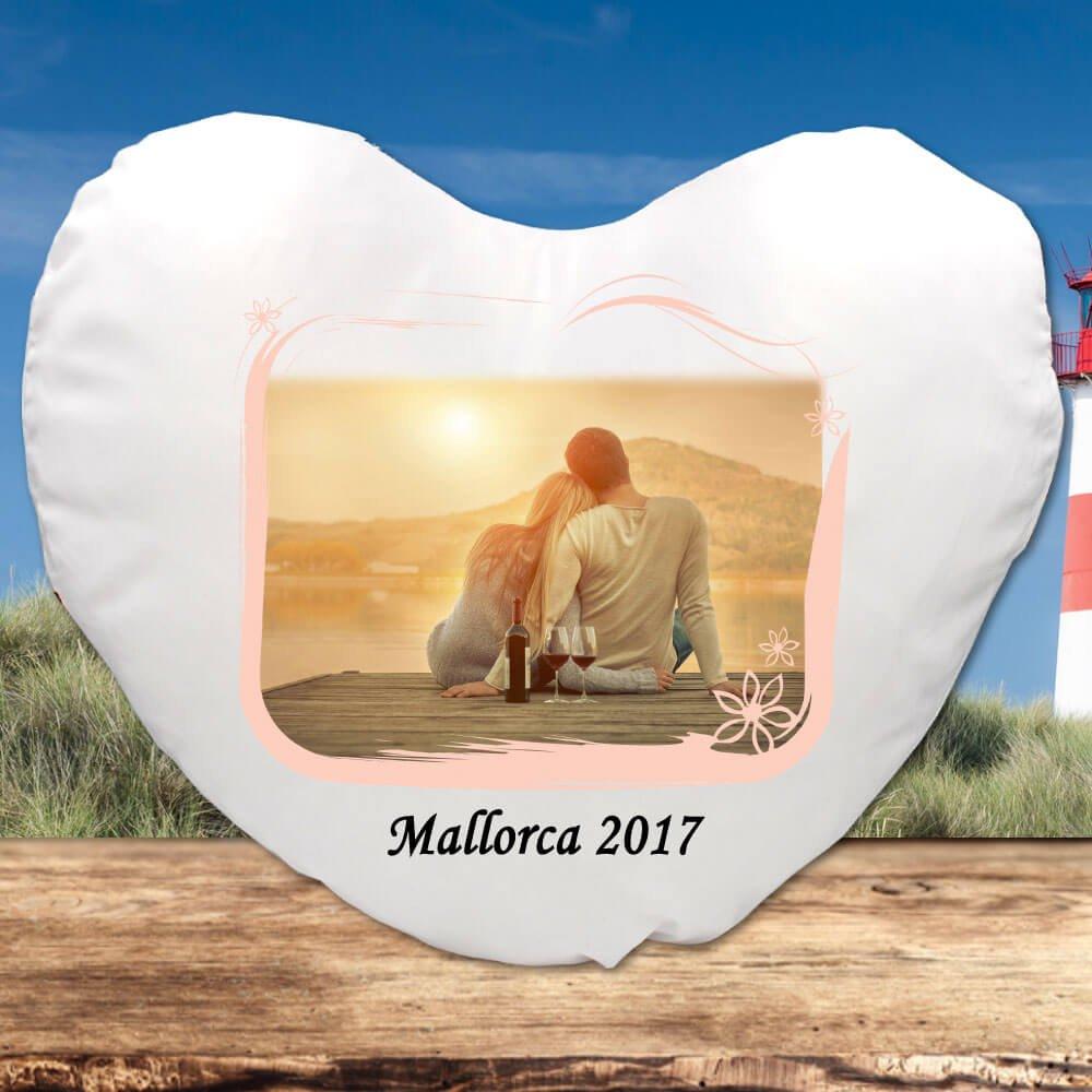 Kissen mit Fotorahmen und Foto bedruckt für deine Urlaubserinnerung