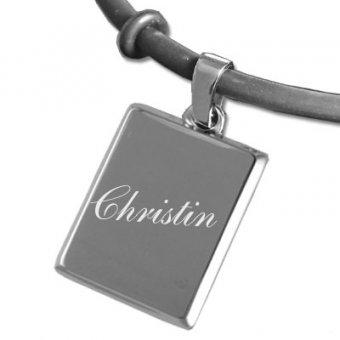 Armband Silber in Rechteckform mit einem Namen graviert.