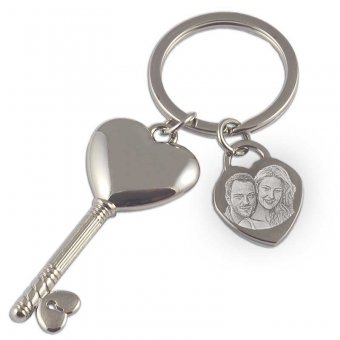 Schlüsselanhänger mit Schlüssel, mit einem Foto von einem Paar
