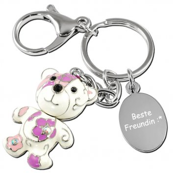 Schlüsselanhänger Bär in weiß, lila und rosa - richtig niedlicher Anhänger mit einer Textgravr auf einer Gravurplatte