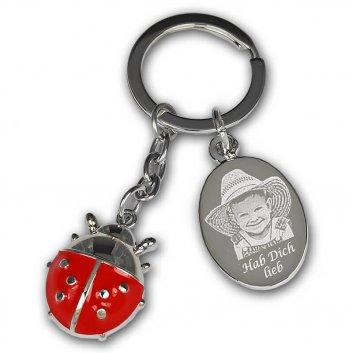 Marienkäfer Schlüsselanhänger rot mit Fotogravur und Gravurplatte