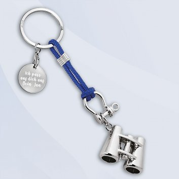 Schlüsselanhänger mit Fernglas im maritimen Design und Gravurplatte