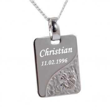 Sternzeichenanhänger 925er Silber als Rechteckfom mit Motiv Wassermann und einer persönlichen Gravur.