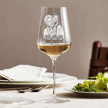 Premium Weissweinglas LEONARDO Brunelli mit Fotogravur