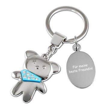 Schlüsselanhänger Teddy in blau mit Textgravur