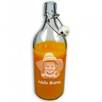 Flasche Plopp mit Fotogravur Kind