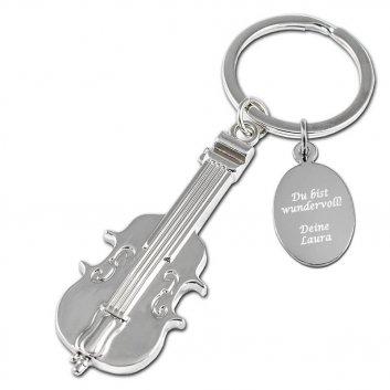 Schlüsselanhänger Geige mit einer Textgravur auf einer extra Gravurplatte