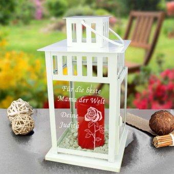 Gartenlaterne klein mit Gravur in weiß und roter Kerze