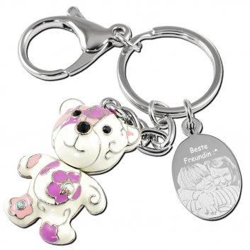 Schlüsselanhänger Bär in weiß, lila und rosa - richtig niedlicher Anhänger mit einer Fotogravur auf einer Gravurplatte