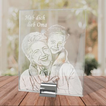 Fotoglas mit Metallfuss und Fotogravur