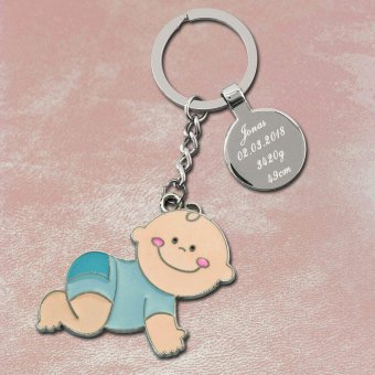 Baby Schlüsselanhänger blau mit Gravur