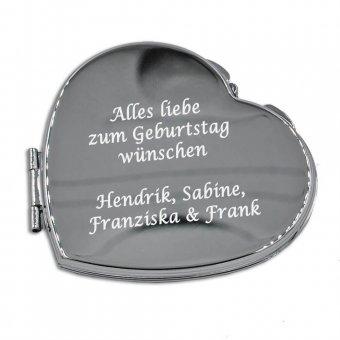 Herzförmiger Taschenspiegel mit Gravur