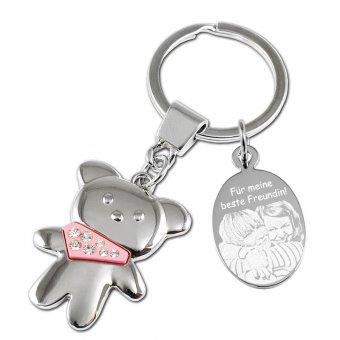 Schlüsselanhänger Teddy in rosa mit Fotogravur