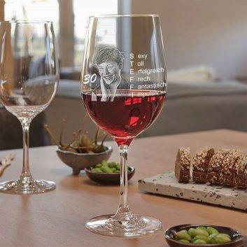 Rotweinglas als Geburtstagsgeschenk von LEONARDO mit Foto und Text graviert