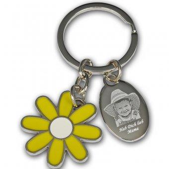 Schlüsselanhänger Blume mit Fotogravur