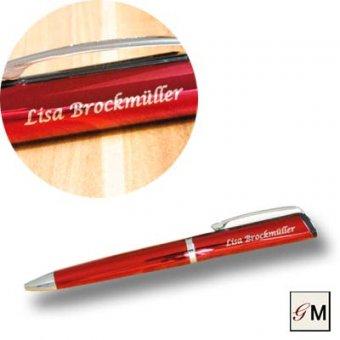 Drehkugelschreiber mit persönlichen Namen in der Farbe rot