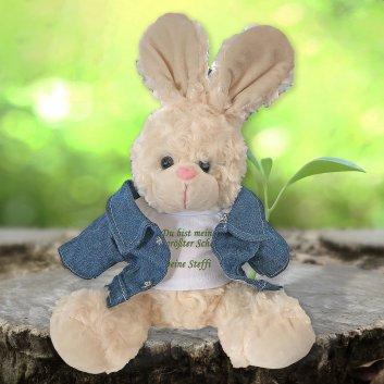 Kuscheltier Hase mit Text
