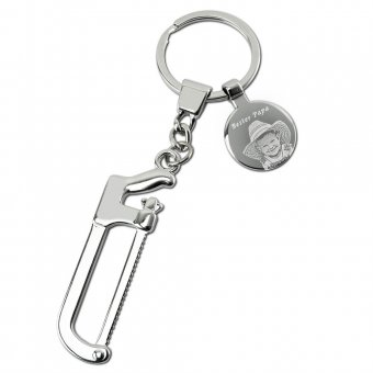 Metallsäge Schlüsselanhänger mit Fotogravur Platte