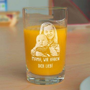 Saftglas von Spiegelau mit Foto und Tex graviert