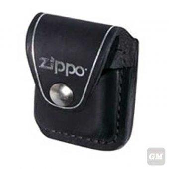 Zippo Tasche in schwarz mit Clip aus Leder.